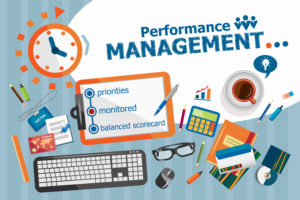 Performance management design concept. Typographic poster. Performance management concepts for web banner and printed materials.